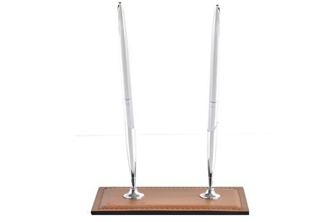 Подставка для двух ручек из кожи цвет ТАБАК