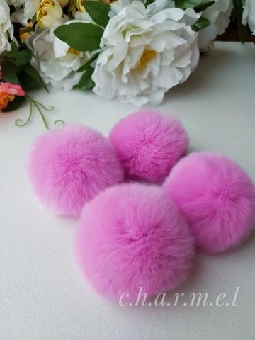 Помпон из натурального меха, Кролик, 5-6 см, цвет Лиловый, 2 штуки