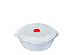 Контейнер для СВЧ 1 литр c крышкой и клапаном Эльфпласт белый круглый 18 см
