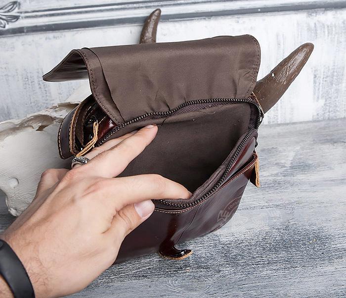 BAG402-2 Мужская городская сумка из натуральной кожи с ремнем на плечо фото 06