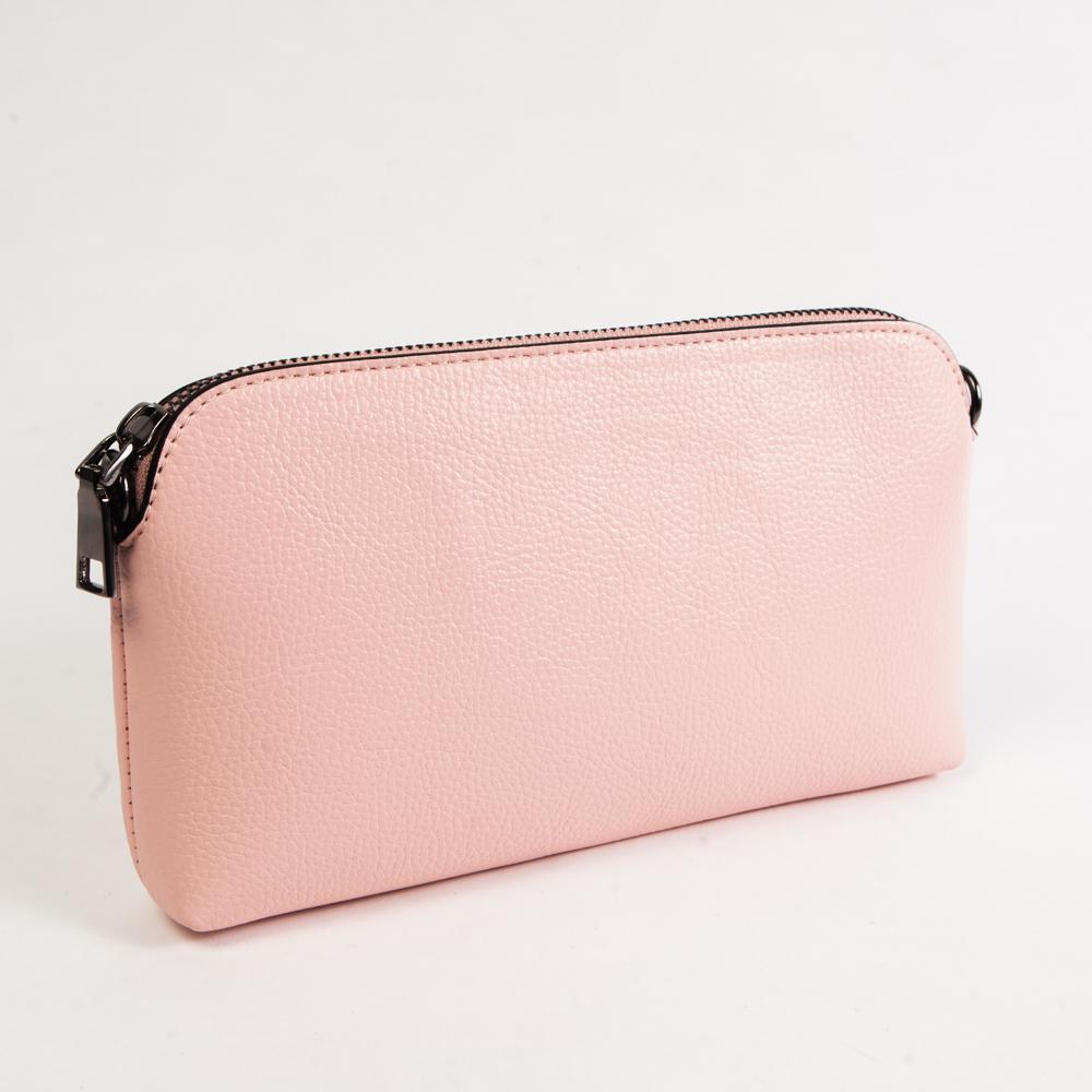Маленький стильный женский повседневный клатч сумочка розового цвета из экокожи Dublecity DC802-3 Rose