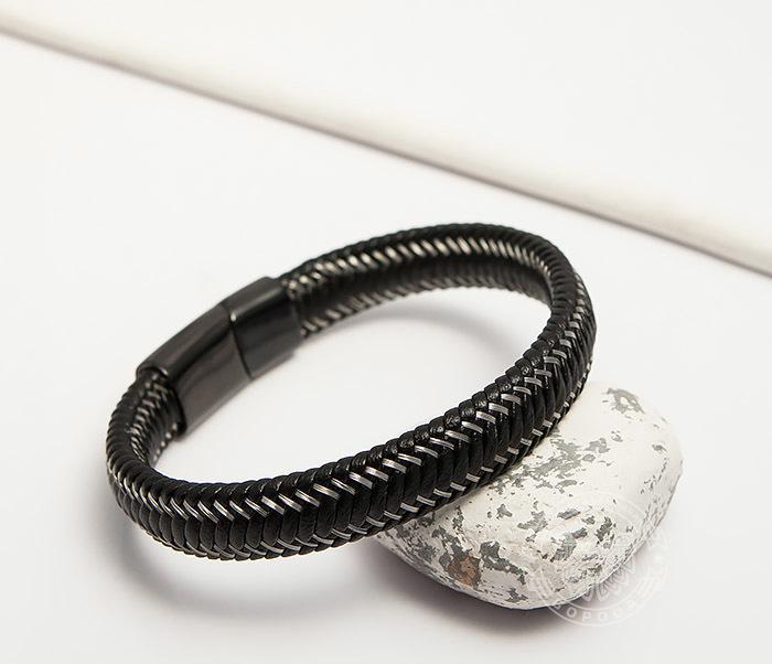 BM422 Мужской браслет из кожи со стальной проволокой (20 см) фото 04