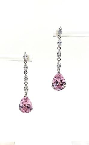 89064- Серьги из серебра длинные с розовым каплями