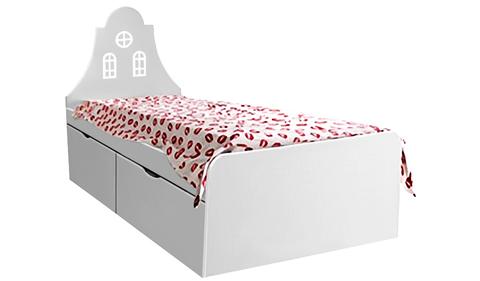 Детская кровать с ящиками белая