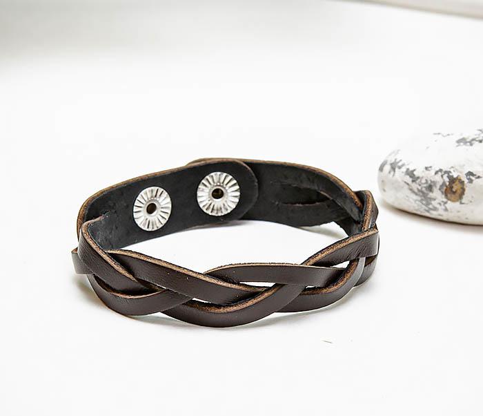 BL796-2 Мужской плетеный браслет из коричневой кожи фото 03