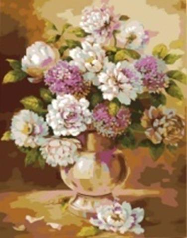 Картина раскраска по номерам 30x40 Нежные пионы в прозрачной вазе (арт. KTL0118)