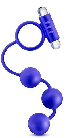 Синее эрекционное кольцо с анальным стимулятором Penetrator