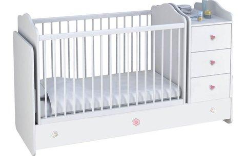 Кроватка детская Polini kids  Плюшевые Мишки с комодом, белый-розовый