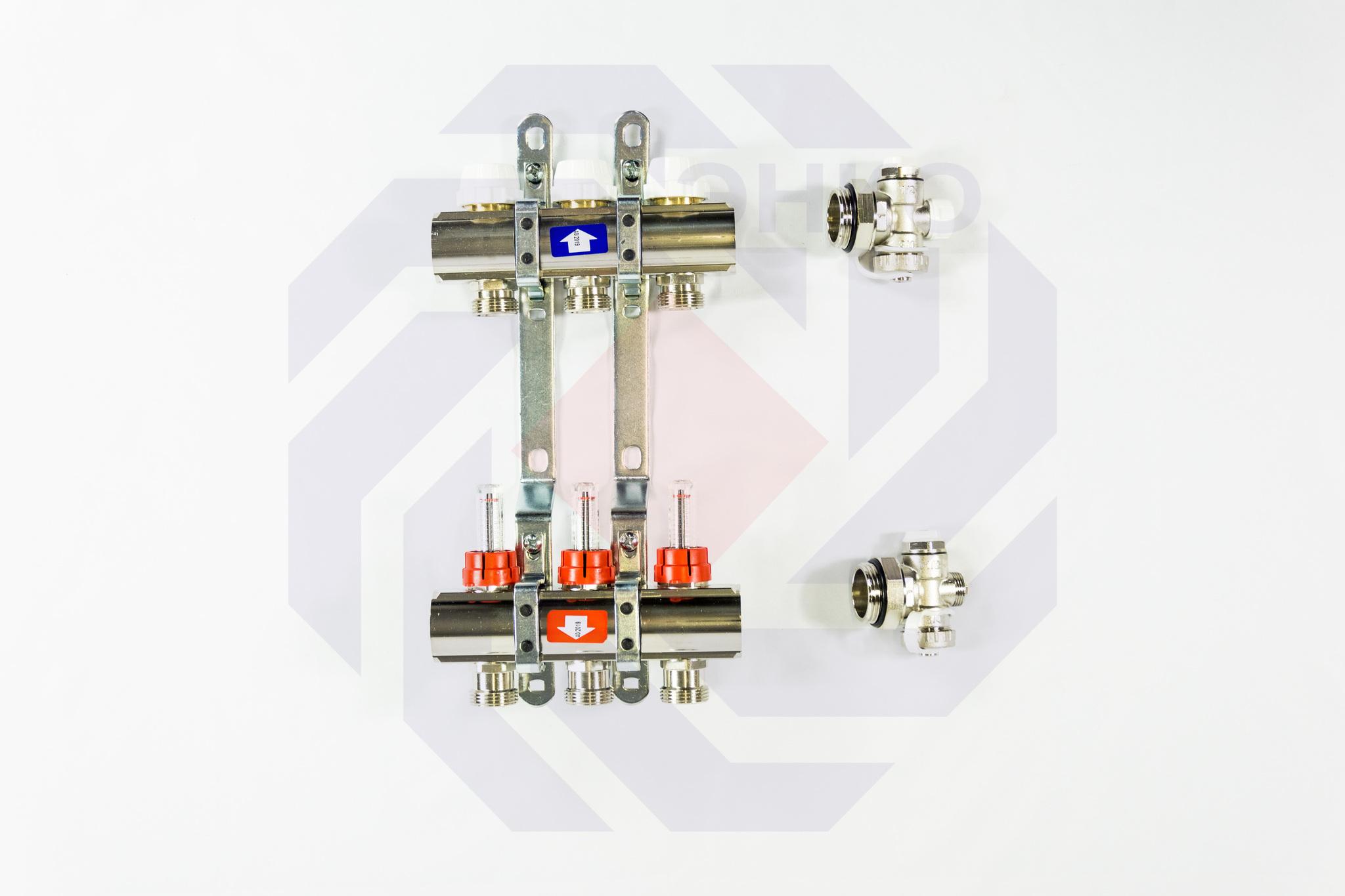 Комплект коллекторов с расходомерами ITAP 916C 3 контура