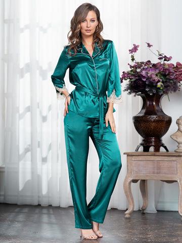 Комплект шелковый с брюками Mia-Amore  MARILIN Мэрилин 3546 изумруд