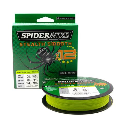 Плетеная леска Spiderwire Stealth Smooth 12 Braid Ярко-желтая 0,15 мм. 16,5 кг. 150 м. (1507377)