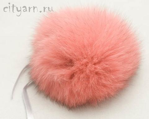 Помпон из меха песца, розовый цвета арбузного сока, 10 см