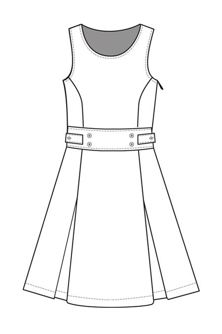 Выкройка сарафана с рельефами и встречными складками перед
