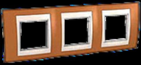 Рамка на 3 поста. Цвет Оранжевый/Белый. Schneider electric Unica Хамелеон. MGU6.006.869