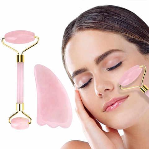 Роллер массажер + скребок Гуаша, розовый кварц в подарочной упаковке