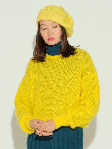 Женский джемпер желтого цвета из мохера и шерсти - фото 3