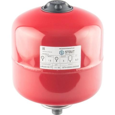 Бак расширительный на отопление 5л (цвет красный) Stout
