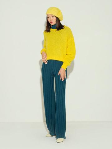 Женский джемпер желтого цвета из мохера и шерсти - фото 5