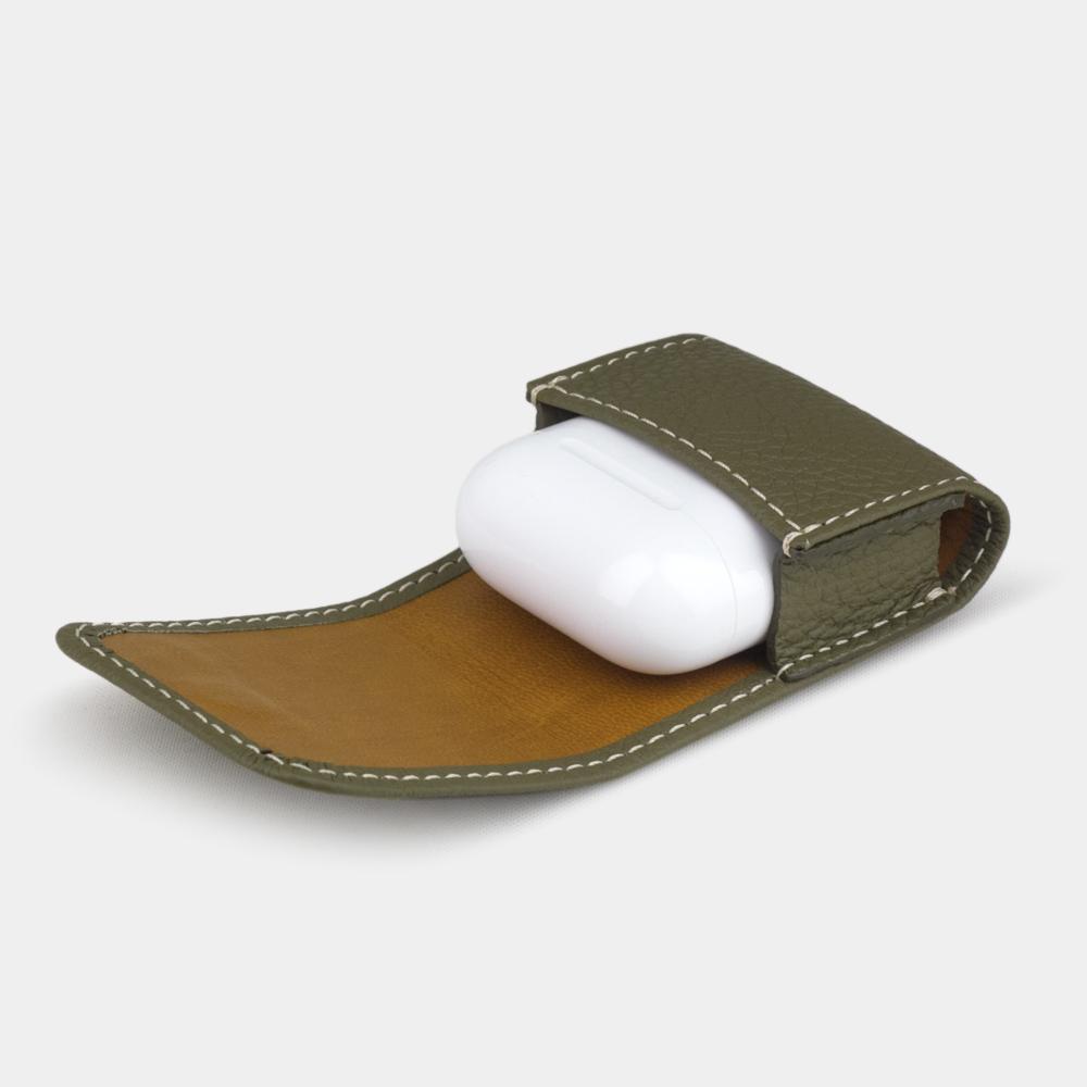 Чехол-держатель для наушников Petit Easy из натуральной кожи теленка, зеленого цвета