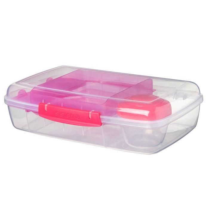 """Ланч-бокс с баночкой Sistema """"Bento TO GO"""", многосекционный, 1,76 л, цвет Розовый"""