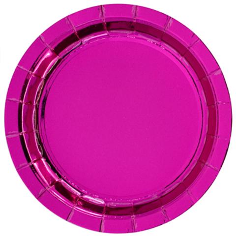 Тарелки блестящие ярко-розовые, 17см