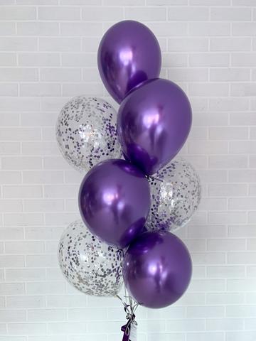 №6 Фиолетовый Гелиевый шар Зеркальный с обработкой