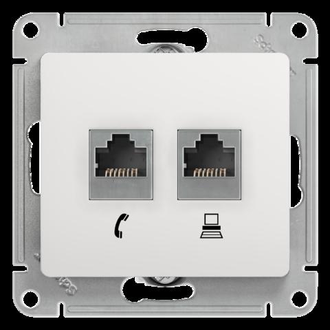 Розетка двойная RJ11+RJ45, категории 5Е. Цвет Белый. Schneider Electric Glossa. GSL000185