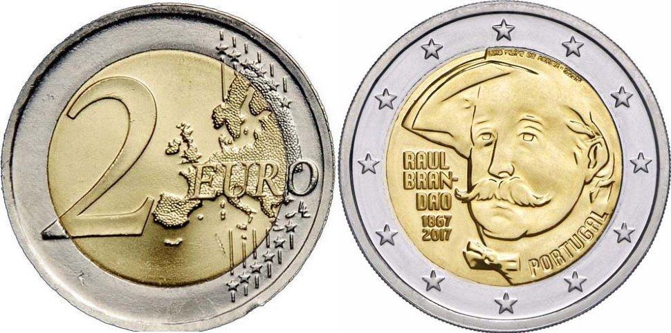 2 евро 2017 Португалия - 150 лет португальскому писателю Раулю Брандао