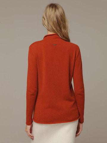 Женский красный джемпер с высоким горлом из 100% кашемира - фото 3