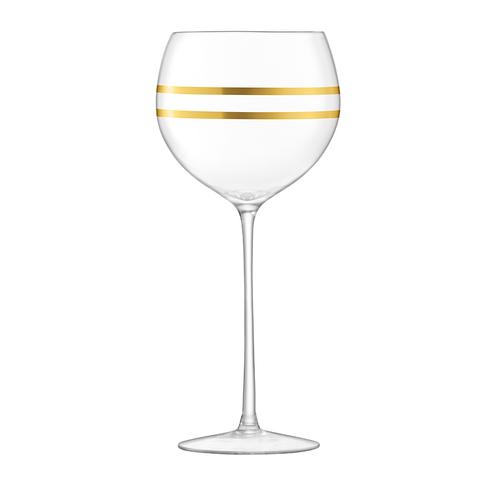 Набор из 8 бокалов для вина с золотым декором Deco 525 мл