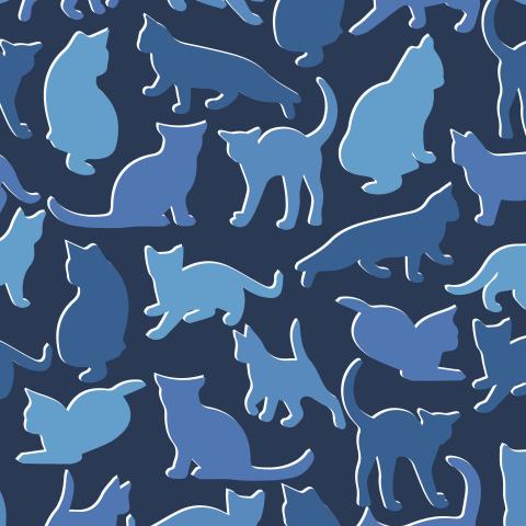 Коты на синем