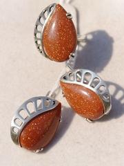 Бене (кольцо + серьги из серебра)