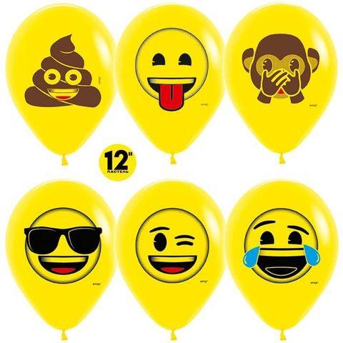 Шар (12''/30 см) Смайлы, Emoji (Озорные), Желтый (020), пастель, 2 ст.