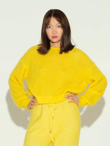 Женский джемпер желтого цвета из мохера и шерсти - фото 2