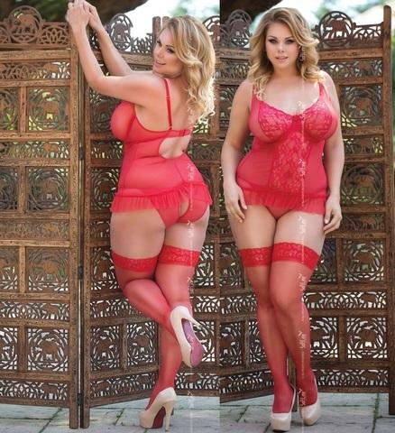 Сексуальный корсаж и трусики с разрезом Adel (BS) красный
