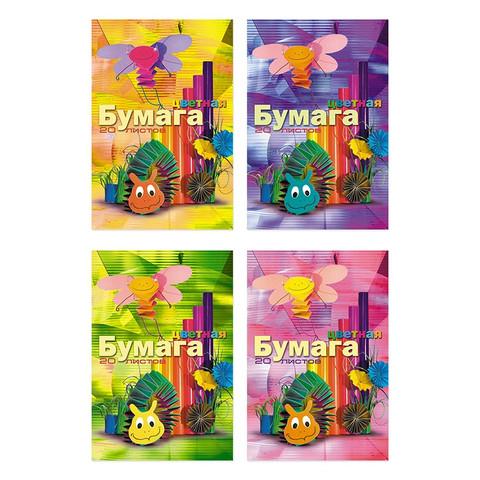 Бумага цветная Бланкиздат Мультики (А4, 20 листов, 10 цветов, офсетная)