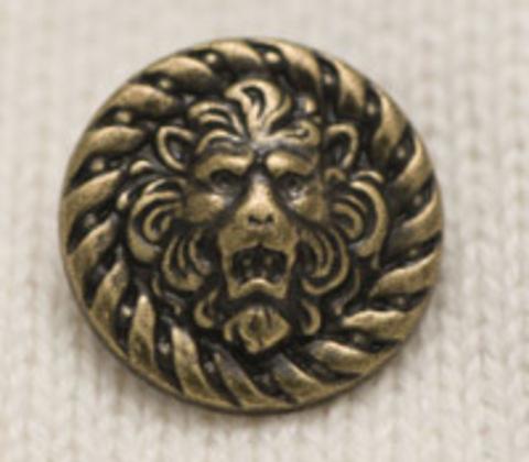 Пуговица со львом, металлическая, объемная, цвет латунный, 20 мм