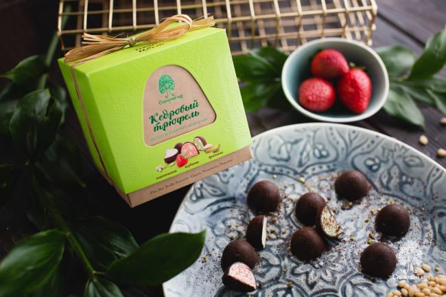 Конфеты Кедровый трюфель ассорти из белого шоколада Сибирский Кедр 120 г