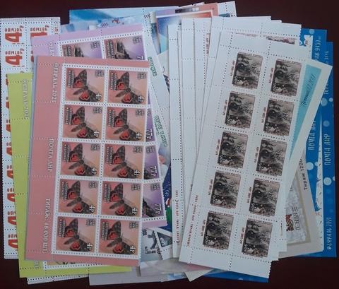 Лот ЛНР 2017-2021 нижние полосы из листов с датами и тиражом, включая редкие Севастополь и Снежинка второй тираж. Текущий номинал за 13000
