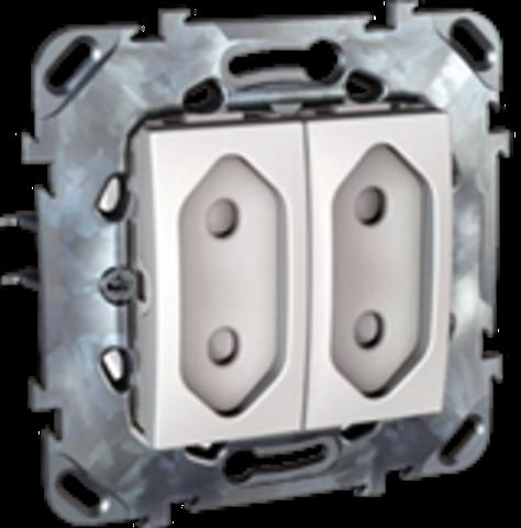 Розетка 2-модульная без заземления, со шторками 10А. Цвет Белый. Schneider electric Unica. MGU5.3131.18ZD