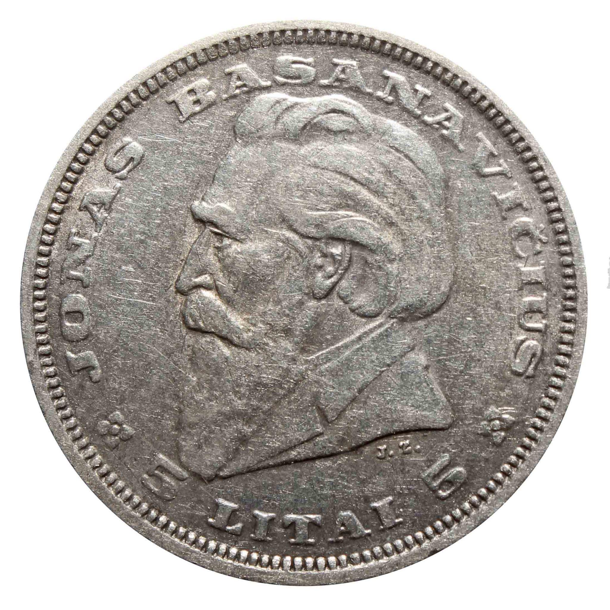 5 лит. Йонас Басанавичюс. Литва. 1936 год. Серебро. VF-