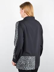 Габріела. Комбінована блуза великого розміру. Леопард сірий.