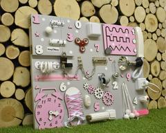 Бизиборд стандарт 50х65 см с телефонной трубкой Розовый для девочки
