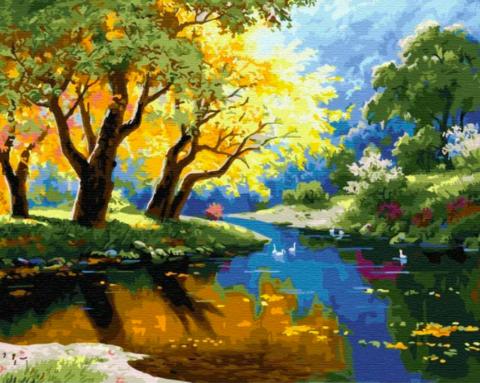 Алмазная Мозаика 40x50 Река среди осеннего леса (арт. GA71769)