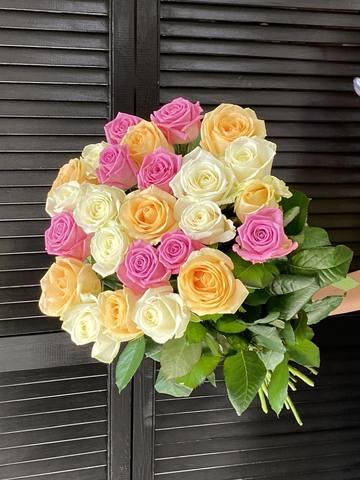 Букет из 25 голландских роз 60 см ( цвет роз на выбор: микс, розовый, белый, бело-розовый ) #1544