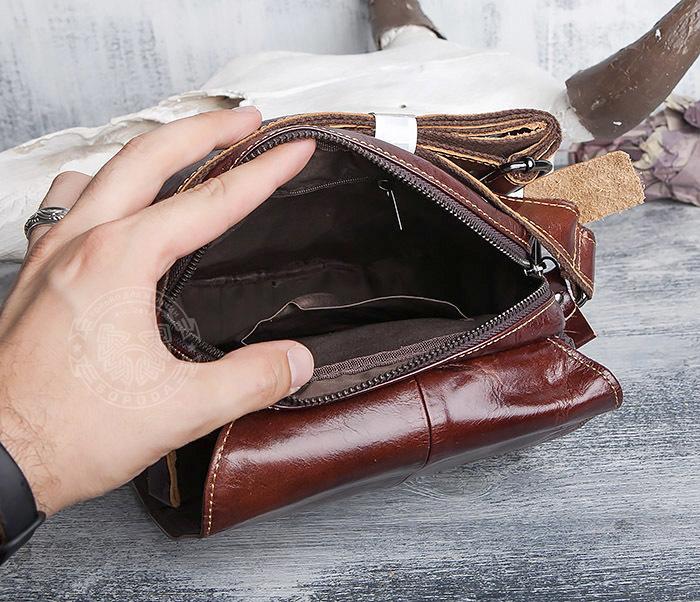 BAG402-2 Мужская городская сумка из натуральной кожи с ремнем на плечо фото 07