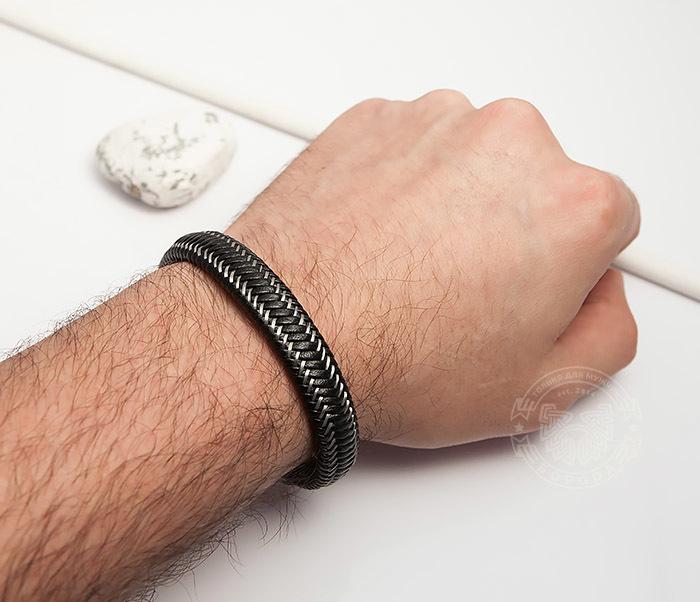BM422 Мужской браслет из кожи со стальной проволокой (20 см) фото 05