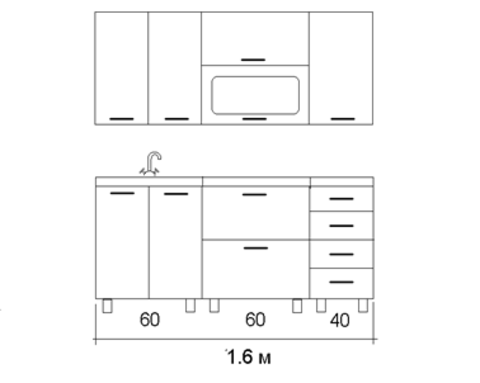 Кухня СВЕТЛАНА горизонт 1,6м.