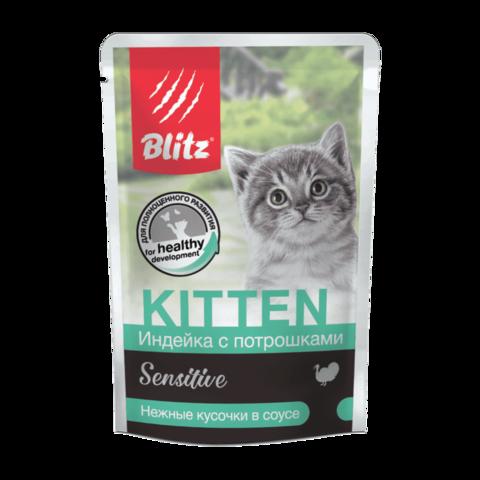 Blitz Консервы для котят Индейка с потрошками в соусе Пауч