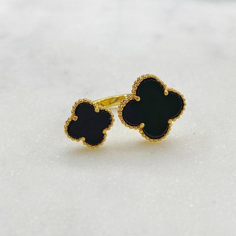 Кольцо незамкнутое Два Клевера (черный, золотистый)